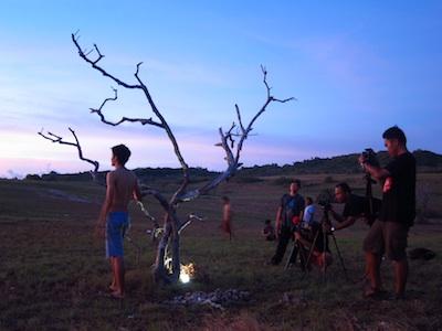 Suasana shooting di P.Tomia Wakatobi untuk Id Travelers.