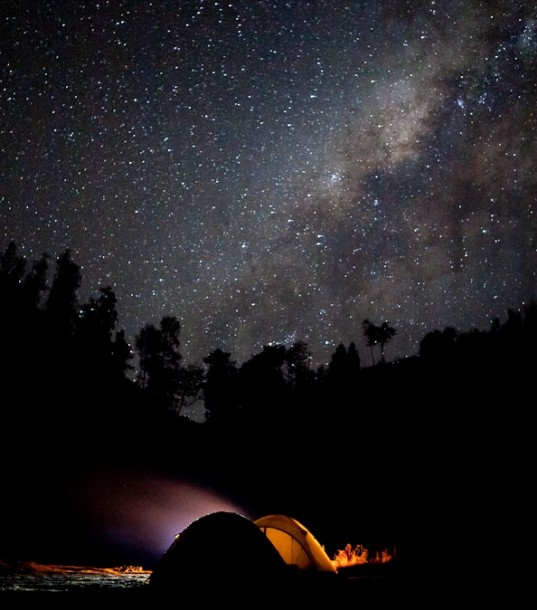 On a spectacular camp site on mt. semeru